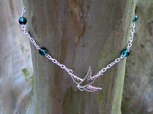 Swooping Swallow Necklace with Blue Tortoiseshell beads